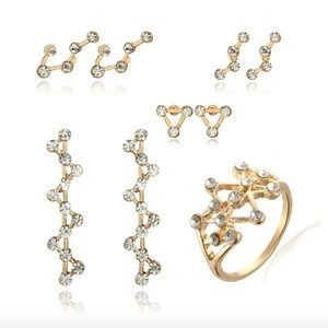 Gold Constellation Crystal Earrings & Ring Set 5Pc